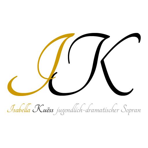 Abb. Logo Isabella Kuess. Initialen, darunter der Text ' Isabella Kuess jugendlich-dramatischer Sopran'.